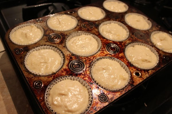Line muffin tins with cupcake liners. Add batter almost to the top (should make...