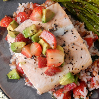Baked Salmon with Strawberry Basil Rice Pilaf and Strawberry Avocado Salsa