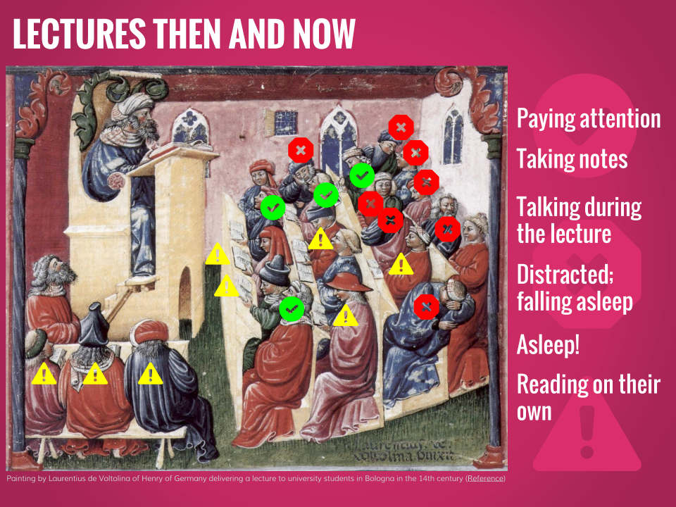 Lectures then and now.