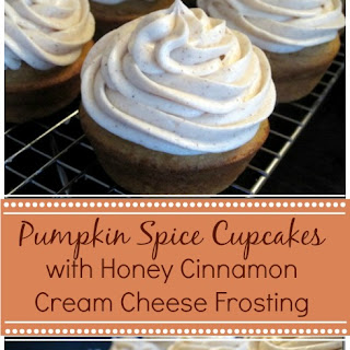 Pumpkin Spice Cupcakes & Honey Cinnamon Cream Cheese Frosting