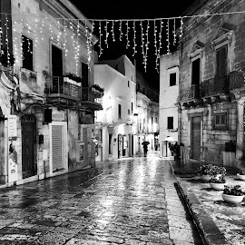 Ostuni Street by Timothy Carney - Black & White Street & Candid ( ostuni, street, night, coblestones, puglia, italy )