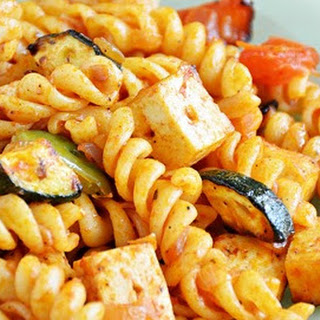 Grilled Tofu And Vegetable Pasta.