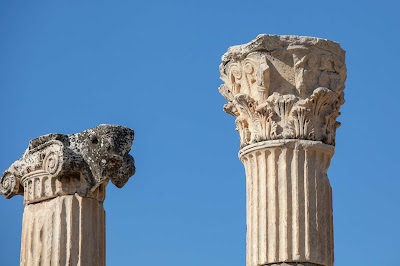 Remnants of columns at Ephesus, Turkey.