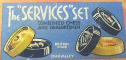 """Photo: A Chad Valley """"Services Set"""" of plastic combined chess/draughts disk pieces.  During WWII the company's factories were put to use manufacturing 'essential goods' under government contract, although one factory did continue making a limited range of toys and games including """"....jig-saw puzzle's, chessmen and dominoes to be used by armed forces and military hospitals all over the world."""" * I don't know whether these included 'real' chessmen or only the plastic disk sets such as the above.  The disks to this set are similar - if not identical to - those found under other brand names see: https://picasaweb.google.com/102034963874507604520/DiskSets#5571257558231310882 and are generally thought to be made of crystalate.  * ex: www.teddy-bear-uk.com"""