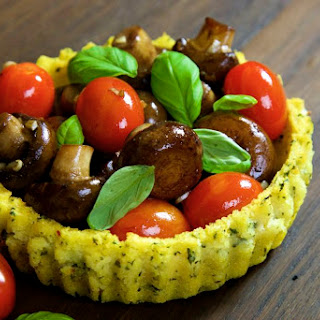 Polenta Baskets with Garlic Mushrooms and Cherry Tomatoes