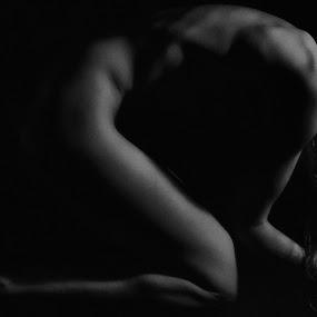 Kneeling by Charles Mitercloses - Nudes & Boudoir Artistic Nude ( tasteful, woman, nude, black and white, naked, kneeling,  )