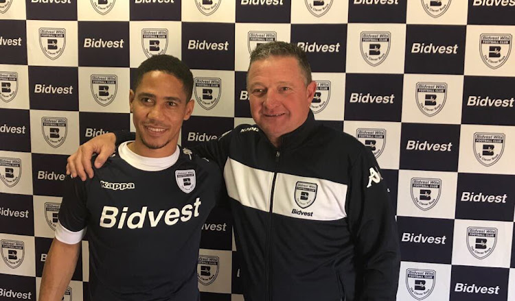 Former Bafana Bafana captain Steven Pienaar (L) pose for a photo with his new Bidvest Wits head coach during his unveiling on Wednesday 5 July 2017.