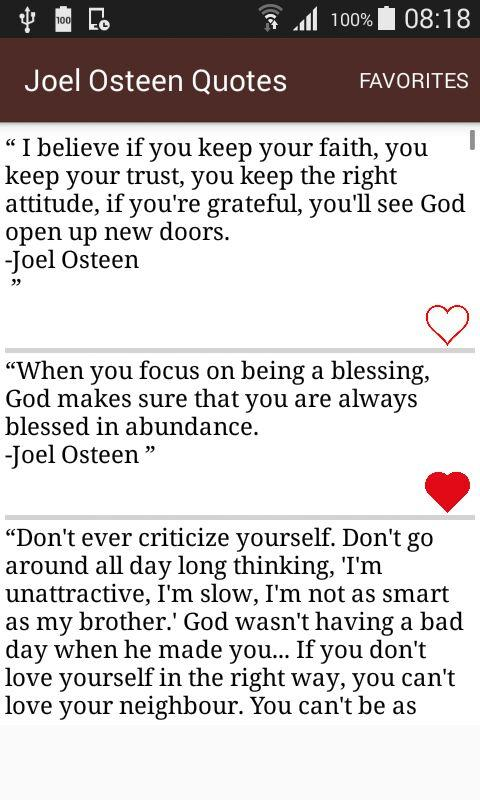 Joel Osteen Quotes On Love Glamorous Joel Osteen Quotes  Android Apps On Google Play