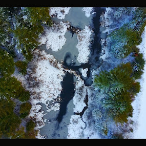 by Olivier Grau - Landscapes Weather ( drone, winter, snow, creek, trees, aerial,  )