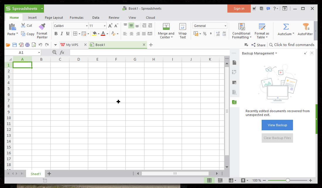 thumbapps.org WPS Office portable, Spreadsheet
