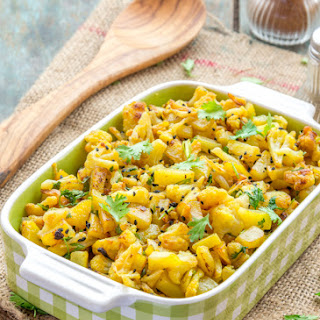 Indian Spiced Cauliflower and Potato Stir Fry.