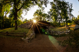 Photo: Miwok Sunset Amador, CA. 2012.  As the sun sets behind the Miwok Roundhouse, +Karen Huttonand I rushed to catch the sunburst behind the wooden structure.  Believe it or not the sunburst and lens flare was 100% captured in camera.  That evening was so perfect, a whole day running around Volcano, CA with my bud, trying to find old, abandoned, and rusted stuff to shoot. -- Luckily we decided to shoot sunset at the Miwok Roundhouse.  Processing wise, this is an experiment, HDR blending was done in Photoshop, followed with effects from +onOne Software, and final adjustments in +Adobe Photoshop Lightroom.