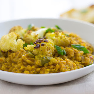 Red Lentil Coconut Curry with Roasted Cauliflower.