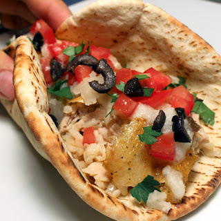 Armenian Rotisserie Style Chicken Pita Tacos with Secret Garlic Paste.