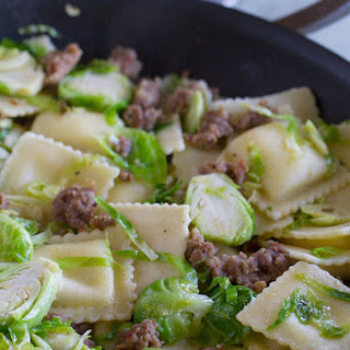 Easy Ravioli with Sausage and Brussels Sprouts