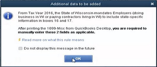 QuickBooks 1099 Form Message