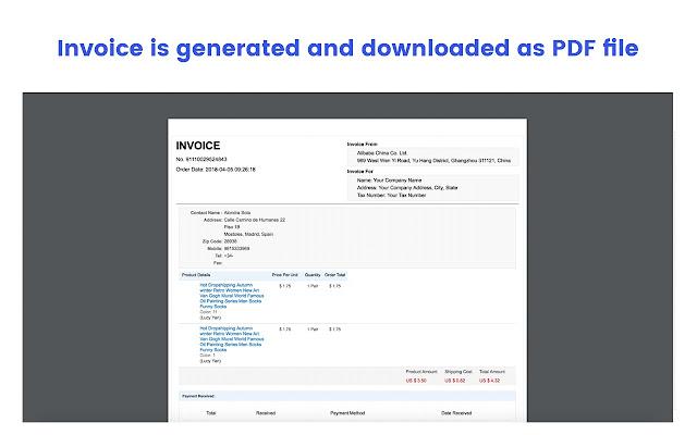 AliBilling AliExpress Invoice Generator Chrome Web Store - Pdf invoice generator