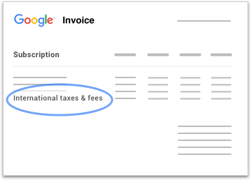 International taxes & fees are shown on a sample Google Voice invoice.