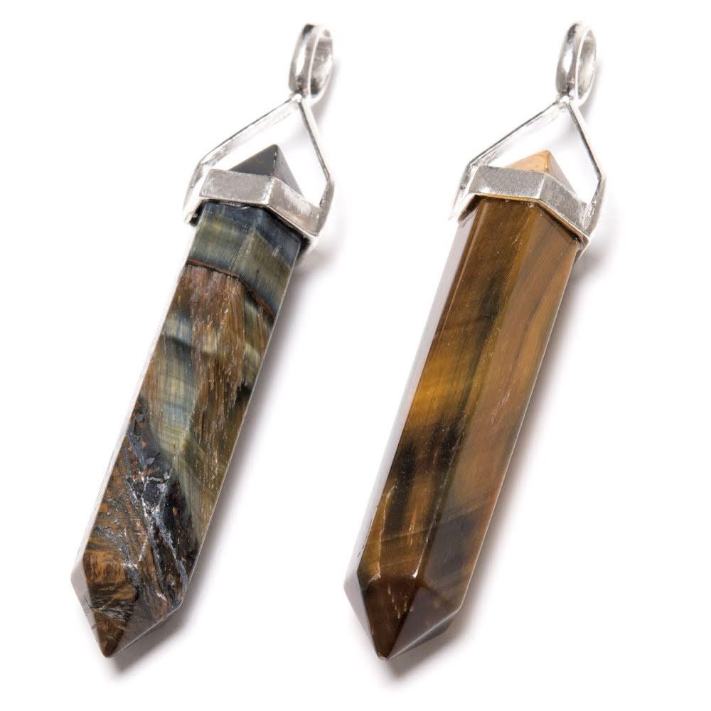 Tigeröga eller falköga, spetshänge dubbelterminerad i silver