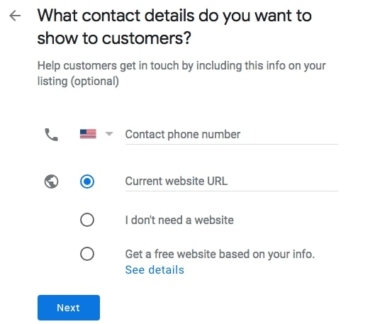 Contact info for Google My Business