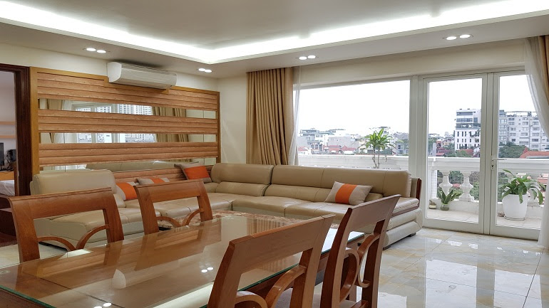 Big balcony 2 – bedroom apartment with lakeview in To Ngoc Van street, Tay Ho district for rent