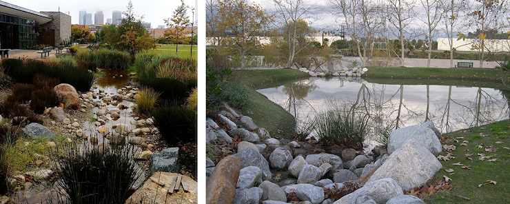 left: Los Angeles State Historic Park, photo via CA State Parks.   right: Marsh Park, photo via MRCA.