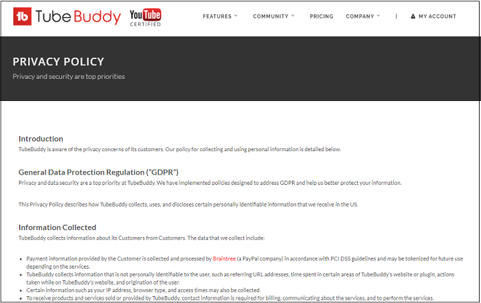 tubebuddy privacy policy page