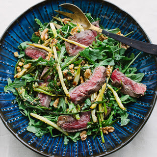 Steak Salad with Grilled Asparagus, Scallions, Toasted Walnuts and Sesame Seeds with Lime Vinaigrette