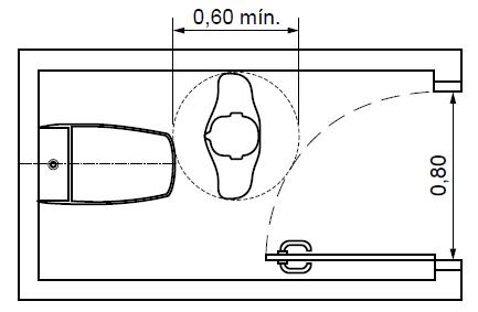 Boxe comum com porta abrindo para o interior.