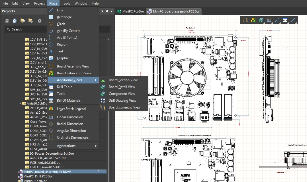 Screenshot of AD18  assembly drawing in PCB layout software