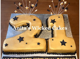 Gold 21 number shaped cake
