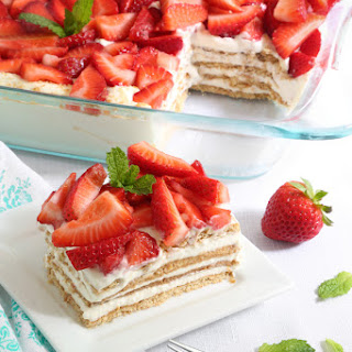 Strawberry Icebox Cheesecake Dessert.