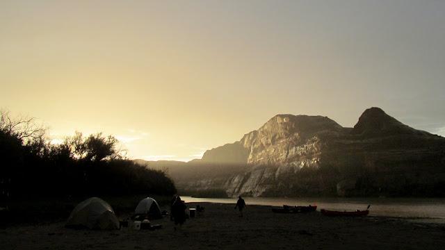 Sun shining through the rain at Thursday's camp