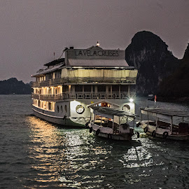 Cruising Halong by Richard Michael Lingo - Transportation Boats ( vietnam, night, halong bay, transportation, boat,  )