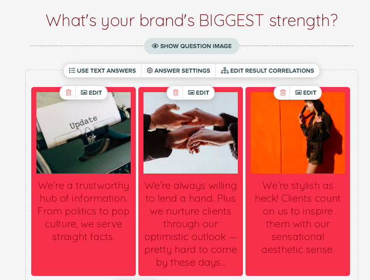what's your brand's biggest strength question with images