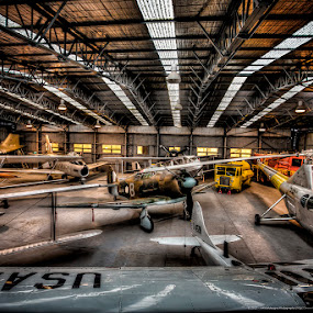 RAAF Museum by Phil Hanna - Buildings & Architecture Public & Historical ( helicopter, hdr bi-plane, hanger, truck, sky light, planes )