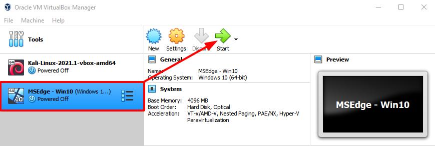 Virtual Hacking Lab - Start Windows 10 VM. Source: nudesystems.com