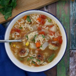 Alphabet Veggie Soup with Mini Chicken Meatballs.