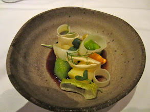 Photo: Charred leeks with mussels, apple and wheatgrass