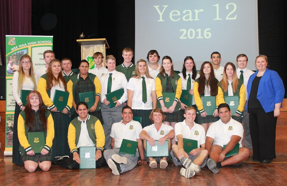 Final Assembly: Wee Waa High School's Year 12 class of 2016 attended their final assembly on Friday. From now, it'll be all about HSC exams. Pictured with year adviser Rhiannon Baxter (right) are, back, Jake Mitchell, Thomas Macklin-Shaw, Josh Kerr, Jared Hoffman, Travis Dixon, Lilly Cruckshank, Braydon Doolan, Jacob Haynes, middle, Nikita Pfeffer, Curston Small, Isabella Orcher, Nicholas McPherson, Amber Conomos, Katie Arthur, Danielle Elford, Jamie-Lee Hooke, front, Shannon Passmore, Jermaine Toomey, Curtis Booby, Rhys Mortimer, Chris Johnson and Kyle Trindall.