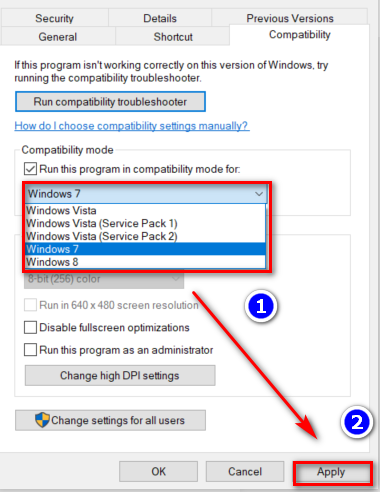 Check the box beside Run this program in compatibility mode for: and choose Windows 7 from the drop-down menu.