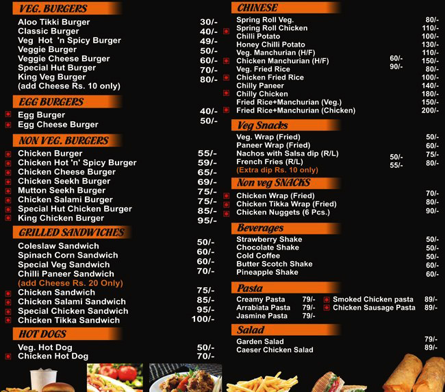 Burger Hut menu 1