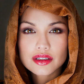 Scarf by Alabama Photos - People Portraits of Women ( headshot, red lips, beauty, scarf, portrait, eyes )