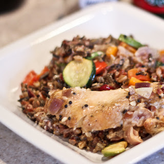Herbed Chicken Casserole with Wild Rice, Red Rice and Cranberries.