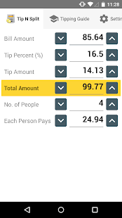 Tip N Split Tip Calculator - screenshot thumbnail