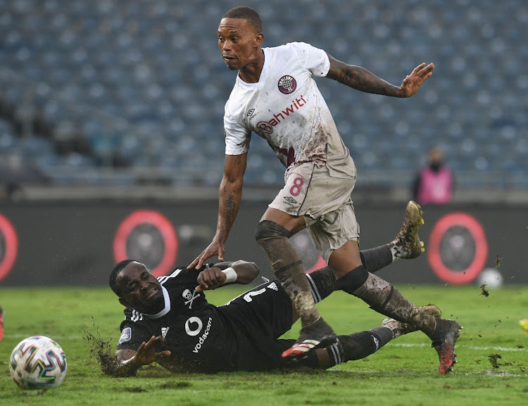 Ben Motshwari scored late to give Orlando Pirates the lead but Kamohelo Mahlatsi cancelled out his goal with the equaliser in the final seconds of the match at a wet Orlando Stadium in Soweto.