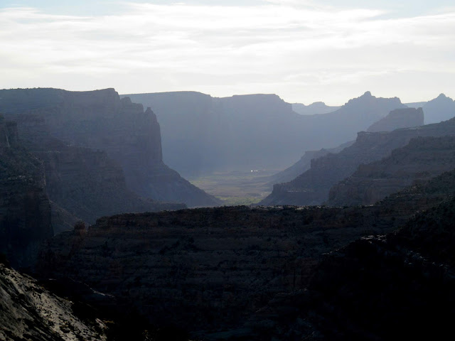 Hazy view down the Little Grand Canyon
