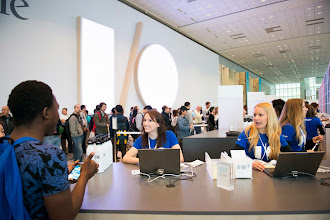 Photo: Check-in started the day before on June 24 with attendees receiving t-shirts and eco-friendly water bottles to kick off their I/O experience. It's important to stay hydrated!
