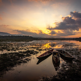 fishing boat by Raksmey Yorn - Transportation Boats ( sunrise, cambodia, lake, boat )