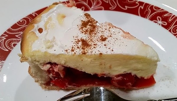 Right before serving, spread a light layer of sour cream over the top, believe...